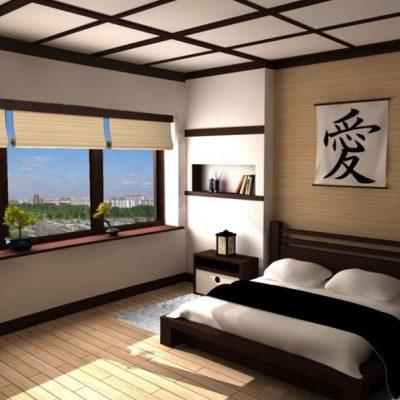 Фото спальни в японских мотивах интерьера с окном