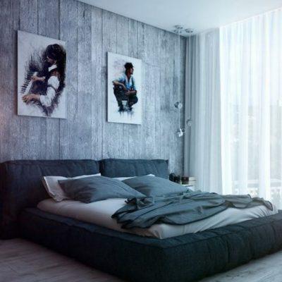 Лофт стиль спальной комнаты на фото примере