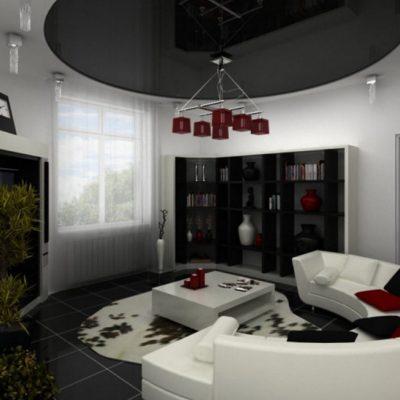 Лаконичная гостиная комната хай тек стиля в интерьере комнаты