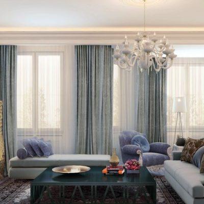 Светлая классика гостиной в современном стиле со шторами на фото интерьера