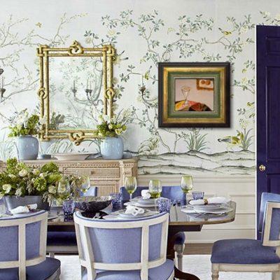 Прованс оформление комнаты кухни обоями в интерьере