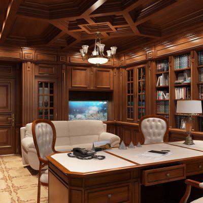 Стильный потолок в кабинете