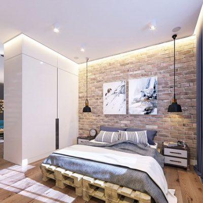 Оформление спальни дизайнером лофт
