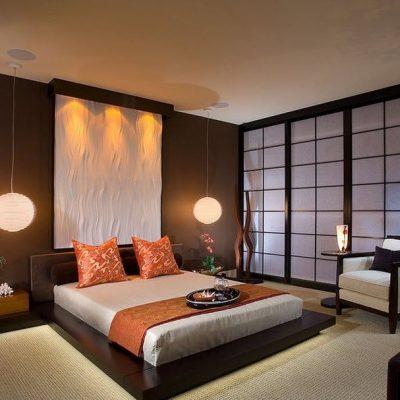 Фотообои в спальне японского стиля на фото
