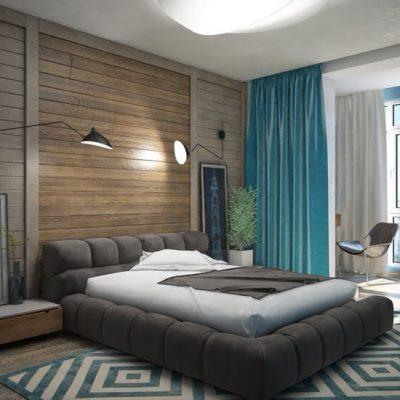 Оформление спальни дизайнером лофт стиле на фото образце