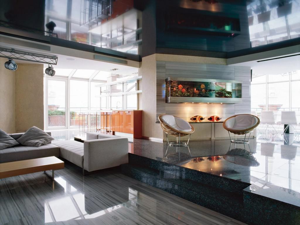 Диван в гостиной хай тек стиля интерьера
