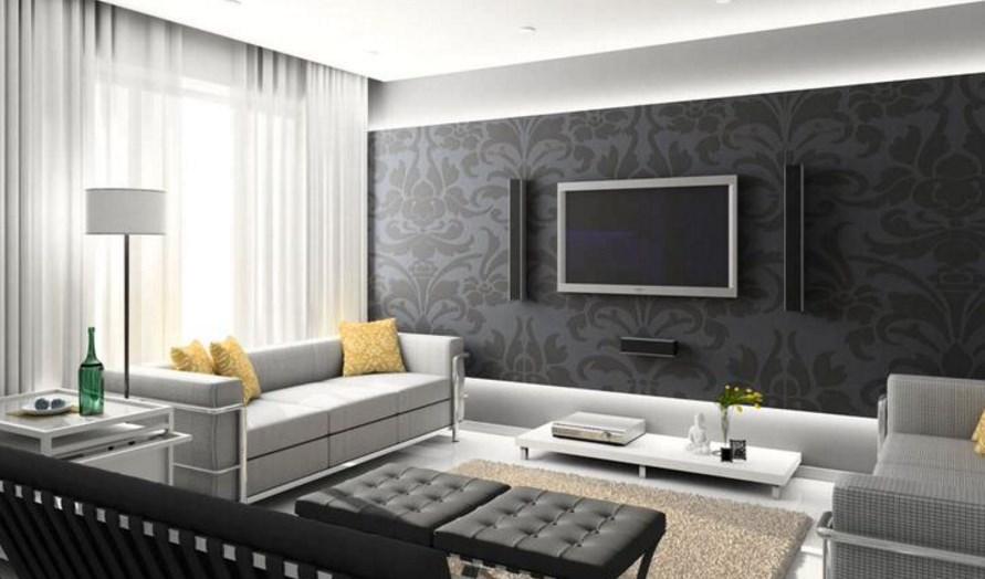 Диван в гостиной хай тек стиля интерьера прямого вида