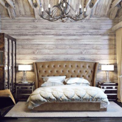 Огромная спальня шале стиля в интерьере