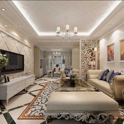 Классическая комната гостиной с мебелью в интерьере
