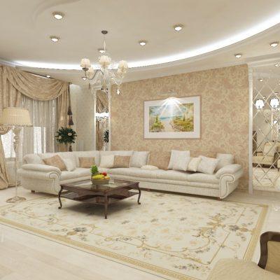 Классическая комната гостиной с мебелью в интерьере современного стиля