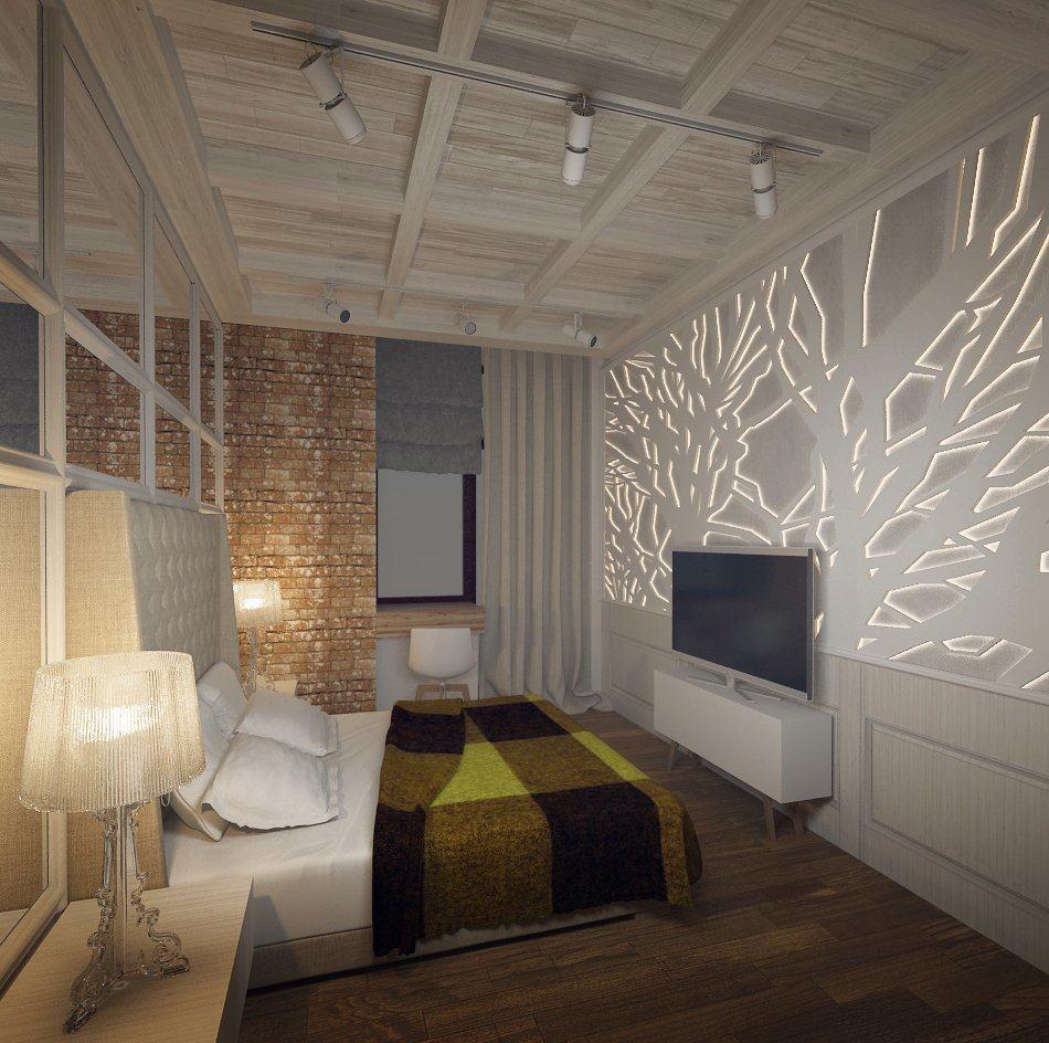 Просторная спальная комната с картиной на фото образце лофт