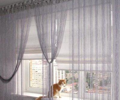 Шторы на большом окне
