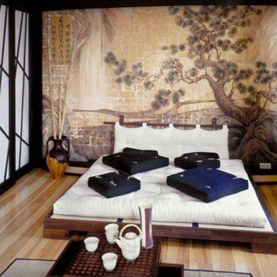 Оформление спальни в японском вкусе