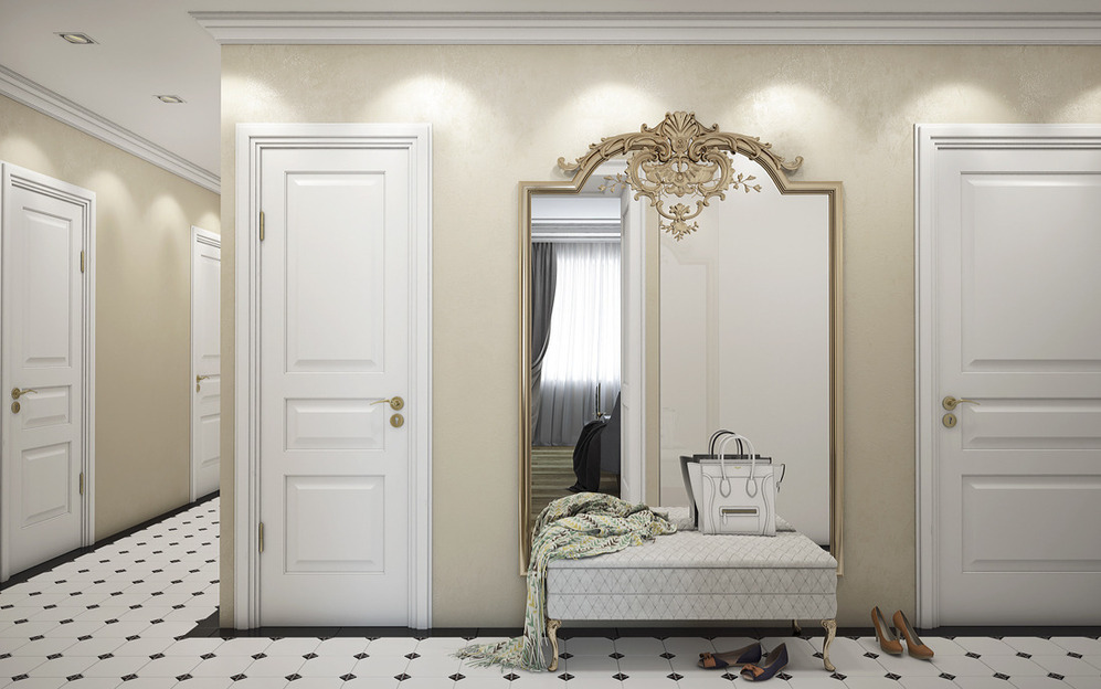 Прихожая белая стиля классики в интерьере