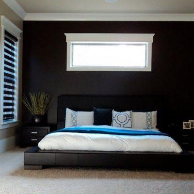 Черный интерьер спальни