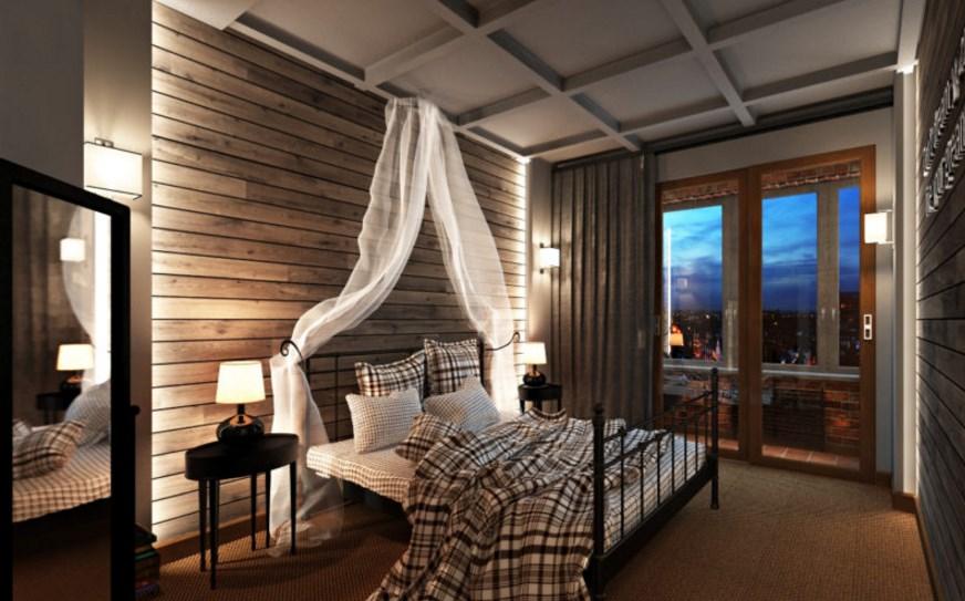 Образец интерьера в лофт стиле спальни