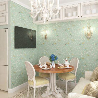 Обои с мелким узором и цветками на стенах кухни в прованс