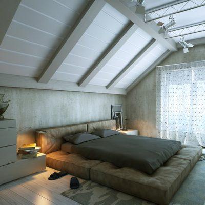 Потолок в стиле лофта в интерьере спальнойкомнаты