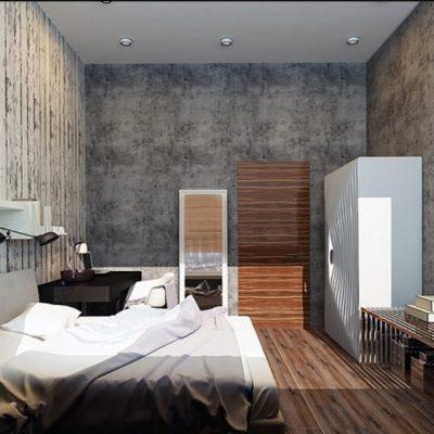 Потолок в стиле лофта в интерьере спальной комнаты на фотографии