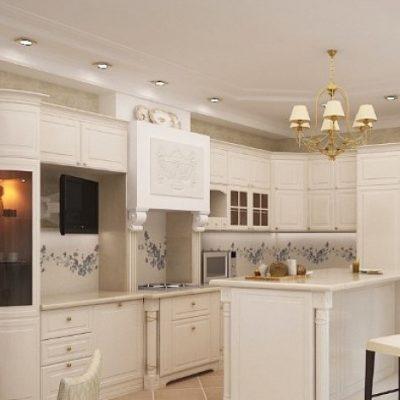 Мебель барокко стиля на кухне с узорами и лепиной