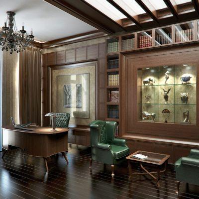 Зеленые кресла в кабинете