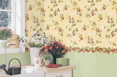 Кухня прованс стиля с обоями на стенах на фото