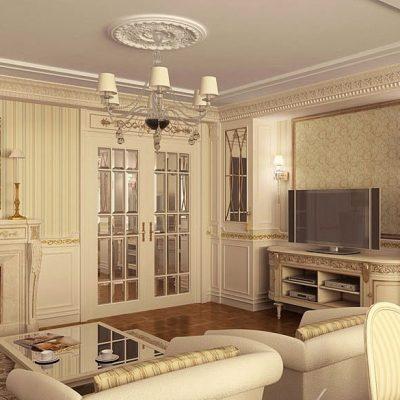 Гостиная просторная классика стиля современности в интерьере