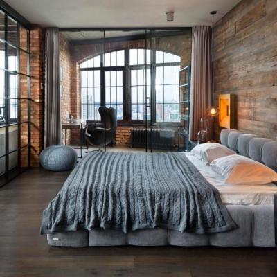 Пример спальни в оформлении шале стиля на примере