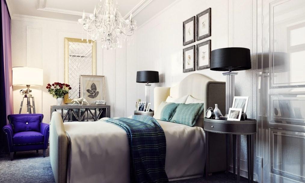 Огромная кровать в спальне американского стиля