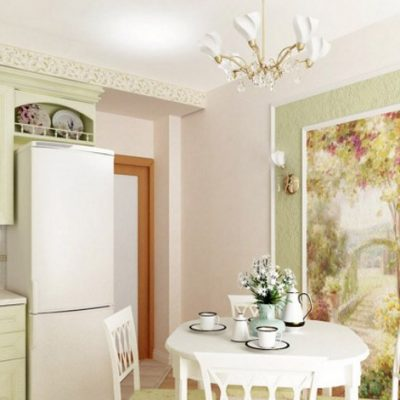 фотообои на кухне прованс стиля на фото примере