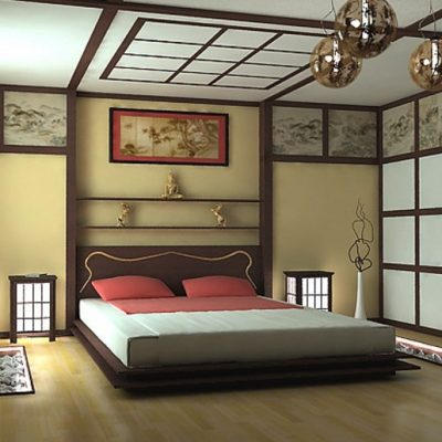 Японский стиль спальни в интерьере на фото примере
