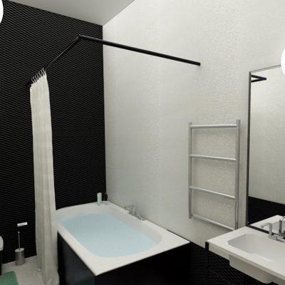 Черно белые тона ванной