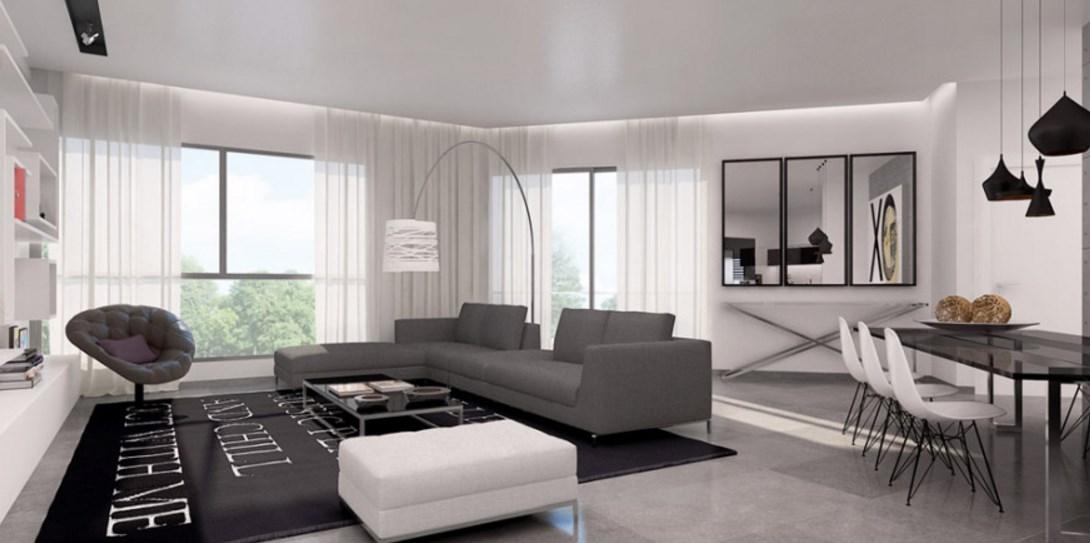 Стильная мебель в гостиной комнате хай тек