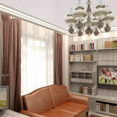 Яркий диван в кабинете