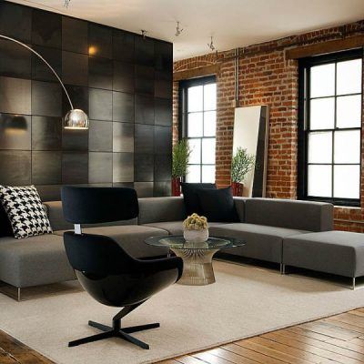 Стильная мебель в гостиной комнате хай тек стиля