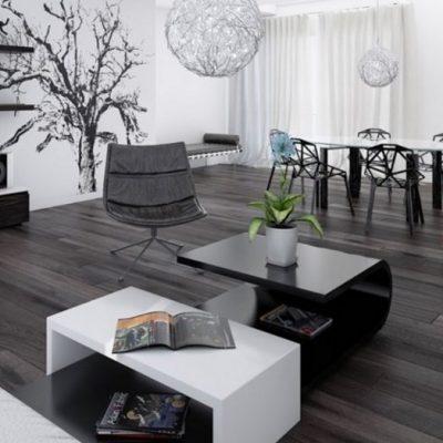 черная гостиная хай тек в интерьере