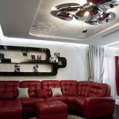 Стильная мебель в гостиной комнате хай тек стиля в интерьере на фото