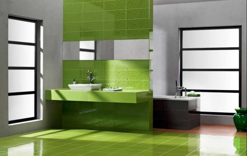 Ярко зеленая ванная