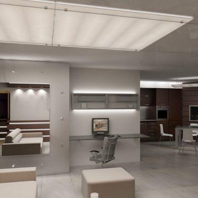 Стильная мебель в гостиной комнате хай тек стиля в интерьере на фото примере работы дизайнера