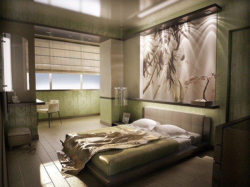 Интерьер спальной комнаты в деталях
