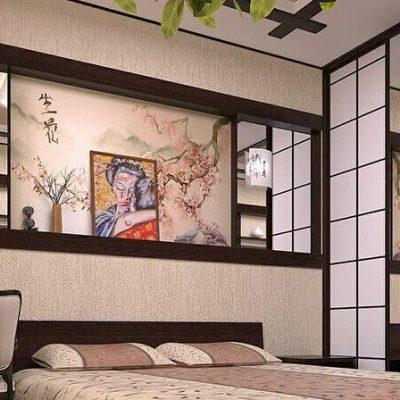 Интерьер спальной комнаты в деталях в японском стиле
