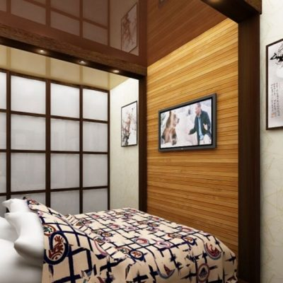 Интерьер спальной комнаты в деталях в японском стиле на фото