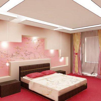 Интерьер спальной комнаты в деталях в японском стиле на фото примере