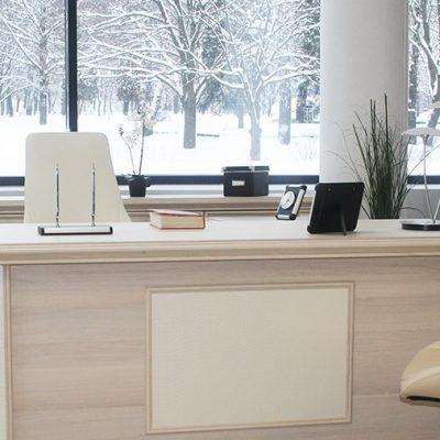 Образец кабинета с мебелью в светлых тонах
