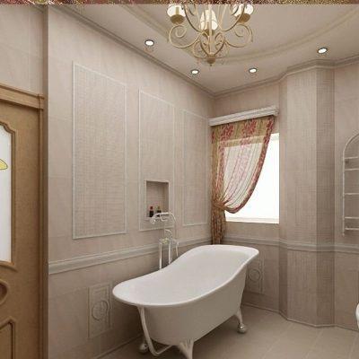 Бежевое помещение ванной кантри стиля