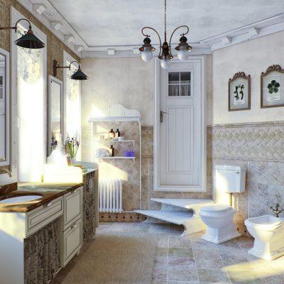 Деревенский стиль кантри ванной комнаты