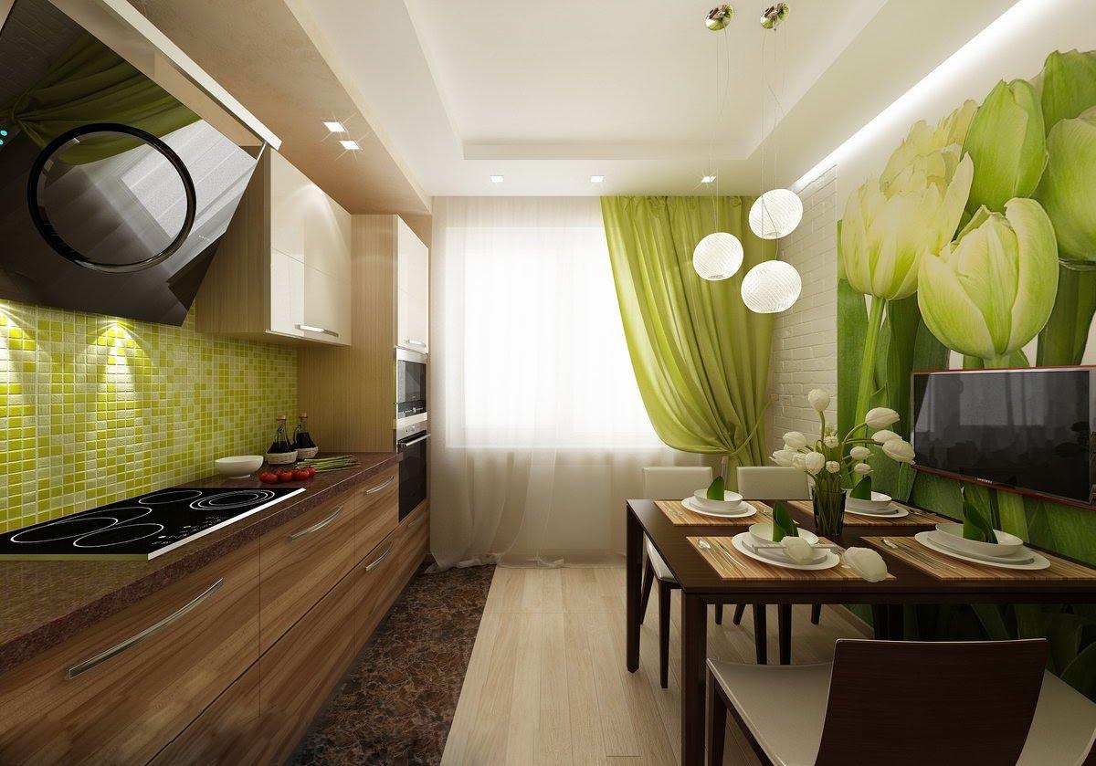 Дизайн вытянутой кухни с балконом.