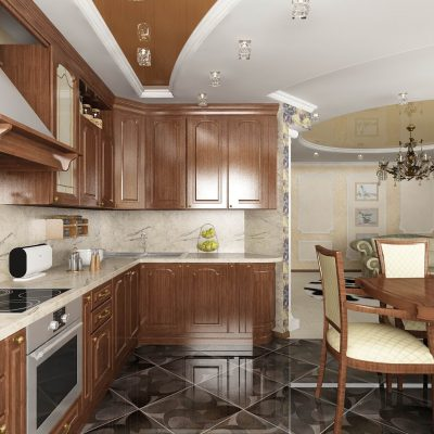 Интерьер кухни на фотов коричневых тонах
