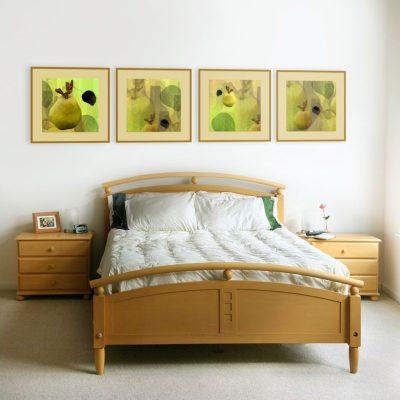 Спальня в цветах по фен шуй с картинами