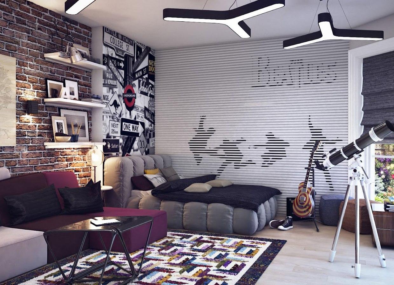 Комнату для мальчика в стиле лофт можно оформить в серых тонах